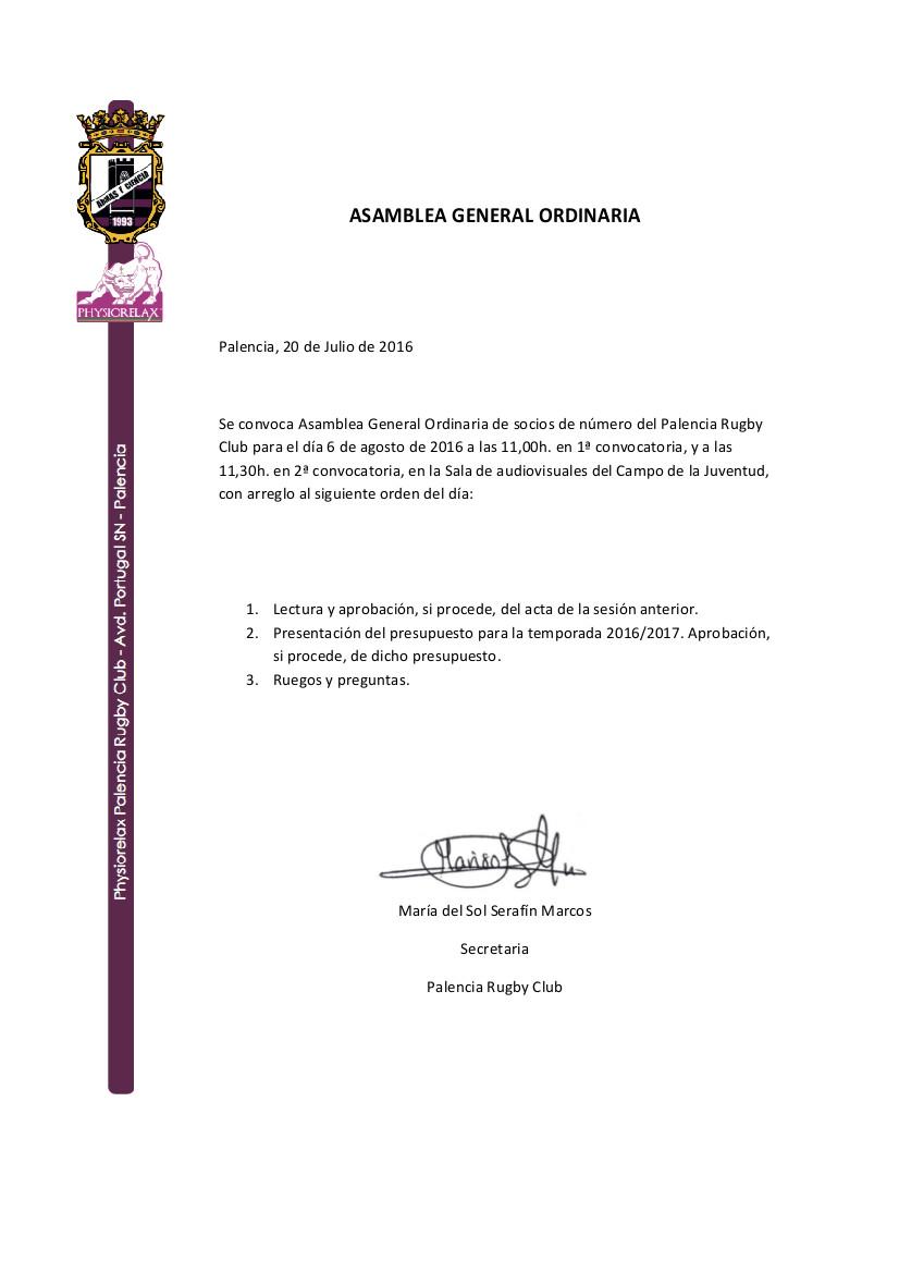 ASAMBLEA ORDINARIA DE SOCIOS DIA 6 AGOSTO